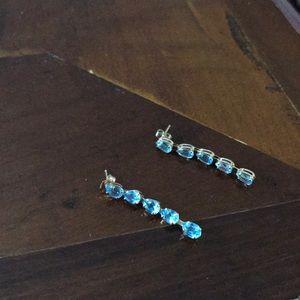 Blue Topaz and 14k Gold Drop Earrings